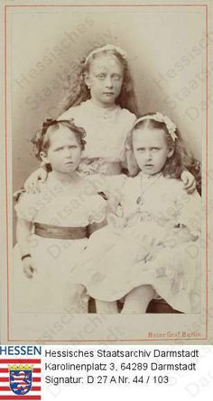 Princess Victoria of Hesse and by Rhine, and two of her sisters, Princess Elisabeth, and Princess Irene Alexandra Feodorovna, Queen Victoria Children, Princess Victoria, Princess Louise, My Princess, Admiral Of The Fleet, Empress Sissi, Victoria's Children, German Royal Family