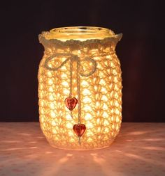 crochet heart vase cover pattern | crocheting lacey jar cover | Bead Happily Ever After