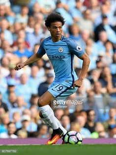 Leroy Sane of Manchester City in action during the Premier League match between Manchester City and AFC Bournemouth at Etihad Stadium on September 17...