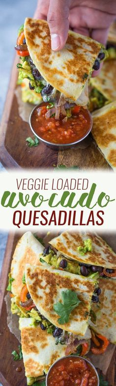 Avocado Black Bean Quesadillas Crispy quesadillas filled with beans, sautéed onions, bell pepper, avocado and lots of cheese. These avocado black bean quesadillas are filling and make a great vegetarian meal too! Happy New Year! Veggie Recipes, Mexican Food Recipes, Whole Food Recipes, Vegetarian Recipes, Cooking Recipes, Healthy Recipes, Vegetarian Mexican, Dinner Recipes, Avocado Recipes