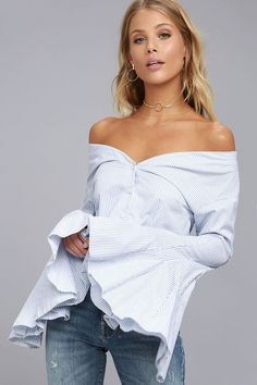 The Clear Sailing Blue and White Striped Off-the-Shoulder Top is perfect for sunny days with a slight breeze! Striped woven cotton forms this chic top with an elasticized, off-the-shoulder neckline, dramatic bell sleeves, and a darted bodice with a button-front.