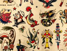 Sailor Jerry Tattoo Flash 2 Poster afdrukken 24 x Sailor Jerry Flash, Retro Tattoos, Trendy Tattoos, Vintage Tattoos, Elephant Tattoos, Animal Tattoos, Equality Tattoos, Tattoo Tradicional, Sailor Jerry Tattoos