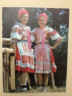 """Folk costumes from village Heľpa (Horehronie region, Central Slovakia) as we know then nowaday are the most """"modern"""" folk costumes in Slovakia, since they were developed even during second half of 20th century. Embroideries are machine-made and colors are unusual - bright pink, light pink and pink in general."""