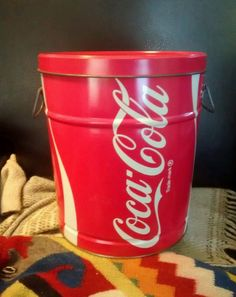 1983 Coca-Cola tin/bucket with lid #cocacola