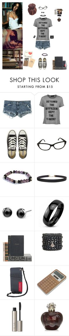 """Between The Stacks"" by blackmagicmomma ❤ liked on Polyvore featuring MINKPINK, Converse, Giorgio Armani, Humble Chic, West Coast Jewelry, Blooming Lotus Jewelry, Manhattan Portage, LEXON, Bobbi Brown Cosmetics and Ilia"