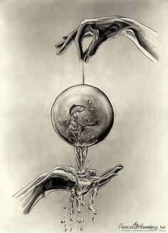 Капля воды, руки и рыба. Монохромный рисунок.