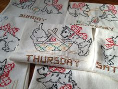 Vintage Days of the Week White Cotton Tea Towel Set / Embroidered Playful Scottie Terriers / 1960s Kitchen by AttysVintage on Etsy