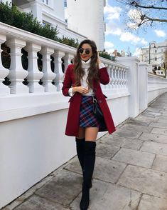 plaid skirt over the knee boots black boots red coat white sweater turtlen. skirt plaid skirt over the knee boots black boots red coat white sweater turtlen. Cute Casual Back To School Outfits for high school Girls Paris Outfits, Winter Fashion Outfits, Mode Outfits, Holiday Outfits, Fall Winter Outfits, Stylish Outfits, Autumn Fashion, Night Outfits, Cute Christmas Outfits