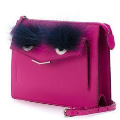 Fendi 'Demi Jour' Bag Bugs shoulder bag ($1,150) ❤ liked on Polyvore featuring bags, handbags, shoulder bags, fendi handbags, envelope clutch bag, fendi, shoulder hand bags and purple handbags