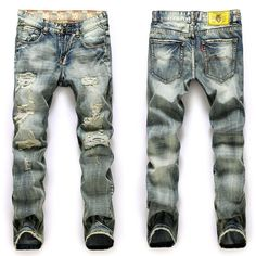 Men's Ripped Faded Jeans-Floessence