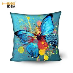 HUGSIDEA 50*50cm Square Cushion Cover for Bedroom Home Hotel Throw Pillow Case 3D Butterfly Printing Cotton Pillow Cover Textile