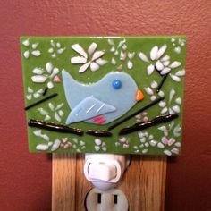 Fused Glass Night Light with Bird on a by StarGlassCreations