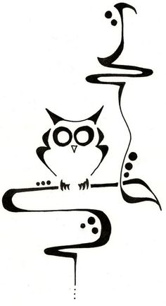 Owl in a Tree Drawing Original Tattoo by ginabeauvais on Etsy