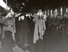Meeting of General Charles de Gaulle (pictured - center) in Moscow at the Kursk station Dec. 2, 1944. Since Europe was still going terrible battles with the Nazis, de Gaulle made it to Moscow by a roundabout way, first by plane - from Paris to North Africa, then to Baku, and from there by train to Moscow via Stalingrad. In the picture on the left of de Gaulle - the People's Commissar for Foreign Affairs Vyacheslav Molotov. Photo: Archive of the Russian Federation Federal Security Service