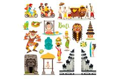 Balinese traditional Temple, ethnic mask, indonesian people and tourist, Buddha drawn art sign. Isolated on white backgroundcollection Wedding Illustration, People Illustration, Illustration Art, Illustrations, Drawn Art, Indonesian Art, Map Wallpaper, Elements Of Art, Map Art