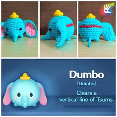 """This pattern is available only in English language. For those who love cute things, Tsum Tsum Dumbo is at the perfect size to hold on your palm or attach on your bag to be your traveling companion. Format: PDF document of 9 pages with detailed instructions. Finished size: approx. 3"""""""