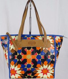FOSSIL PVC Shopper Tote Bag Purse Blue Orange Brown #Fossil #TotesShoppers