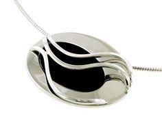 """.925 Sterling Silver & Onyx Oval Swirl Pendant with 18"""" sterling silver choker style chain $266.75 Avant-Garde Jewelerws 512.451.0338 www.avantgardejewelers.com"""