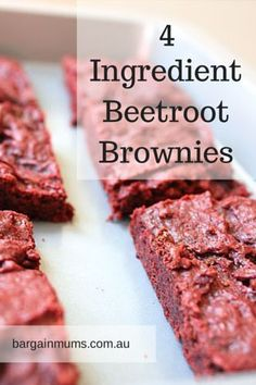 These 4 Ingredient Beetroot Brownies are a great way to turn beetroot into something sweet. beetroot, cooked and pureed dark chocolate 1 cup plain flour cup brown sugar Vegan Brownie, Brownie Recipes, Cake Recipes, Healthy Dessert Recipes, Vegan Desserts, Just Desserts, Vegan Treats, Healthy Treats, Beetroot Recipes
