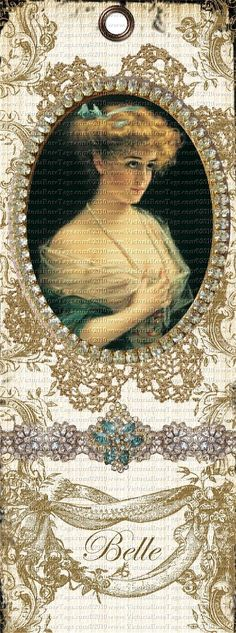 """Victorian Lady Bookmarks """"Belle"""" Shabby Grunge You Print"""