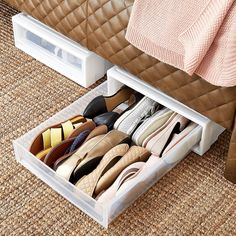 shoe storage Under Bed Storage Drawers - Underbed Drawer Laundry Room Storage, Closet Storage, Bedroom Storage, Storage Drawers, Diy Storage, Closet Organization, Storage Shelves, Under Bed Shoe Storage, Organizing
