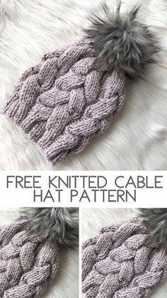 Free knitted cable hat pattern - Lilly is Love Beanie Knitting Patterns Free, Beanie Pattern Free, Loom Knitting, Free Knitting, Crochet Patterns, Free Pattern, Vogue Knitting, Knitting Machine, Chunky Hat Pattern