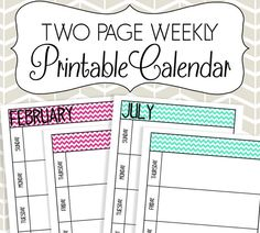 Two Page Weekly Calendar Printable  Colorful by SimplyBrenna, $7.00