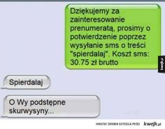 Funny Sms, Funny Text Messages, Wtf Funny, Funny Texts, Polish Memes, Weekend Humor, Pranks, Best Memes, Really Funny