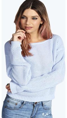 boohoo Ria Crop Slash Neck Waffle Knit Jumper - blue Go back to nature with your knits this season and add animal motifs to your must-haves. When youre not wrapping up in woodland warmers, nod to chunky Nordic knits and polo neck jumpers in peppered mar http://www.comparestoreprices.co.uk/womens-clothes/boohoo-ria-crop-slash-neck-waffle-knit-jumper--blue.asp