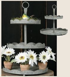 3Tier Galvanized Tin Cupcake Stand/Tray Barn by Jillybeankidsetsy, $59.99