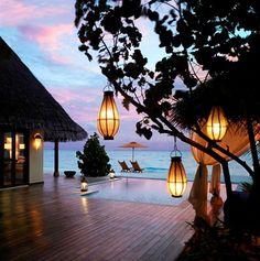 Beach Villa Suite verandah in twilight