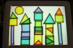 Our light table version of Paul Klee's Castle and Sun using DIY shapes.