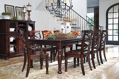 Rustic Brown Porter Dining Room Table View 2