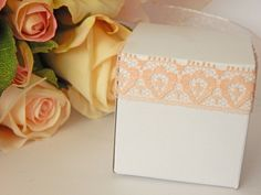 1 mtr x 1.8cm Width Apricot Lace - Perfect for Wedding Invitations or bomboniere boxes! - Hall Occasions