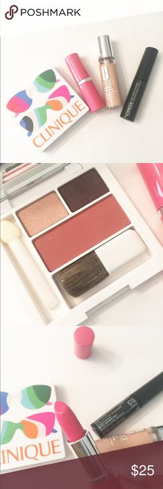 Clinique 4-piece bundle (foundation/lipstick) ❤️ Clinique 4-piece bundle Include: ✨ eyeshadow and blush palette (eyeshadow eye color: 03 morning Java 0.03/1g, 01 sunset glow 0.03oz/1g, blush: 06 fig 0.06oz/1.8g) with mirror and small brush  ✨ lipstick (full size. Never used but have some minor scratches see pics. Color: matte petal)  ✨ beyond perfecting foundation + concealer (color: 02 alabaster 0.17oz/5ml) ✨ high impact mascara (color: black. 0.14oz/3.5ml) Clinique Makeup