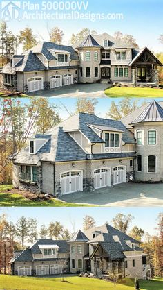 Architectural Designs 4 Bed Luxury House Plan 500000VV has a brick exterior with stone and stucco accents and a marvelous vaulted porch off the front bedroom.   Over 6,000 square feet of heated living space.  Ready when you are. Where do YOU want to build?