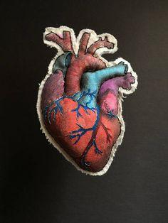 Heart / Anatomical heart / Brooch / Embroidery heart brooch /