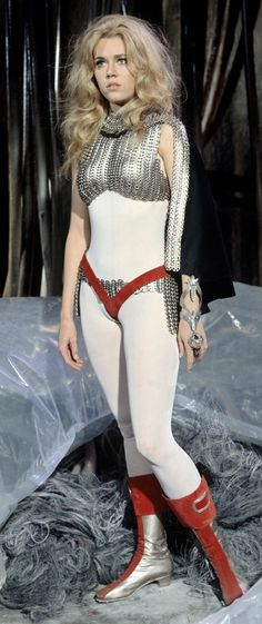 Jane Fonda as Barbarella just about the time the alien pod people took over her brain and she began to cast her waves of hate towards our young draftees serving their country in a hellish situation they endured without a choice.