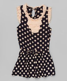 Look what I found on #zulily! Black & Pink Polka Dot Ruffle Dress - Infant, Toddler & Girls #zulilyfinds