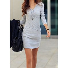 Simple V-Neck Long Sleeve Solid Color Bodycon Women's Dress