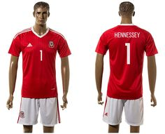 2016 Euro Cup Wales #1 HENNESSEY Home Red Soccer Jersey