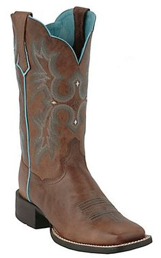 AriatTombstone Ladies Sassy Brown w/Turquoise Stitch Double Welt Square Toe Boot   Cavender's