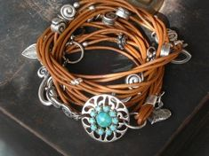 Caramel Charm Leather Bracelet