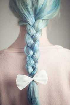 Back view of a woman with a pastel blue braid accessorized with a white bow. Braided Ponytail, Braided Hairstyles, Cool Hairstyles, Dyed Hair Pastel, Pastel Blue, Blonde Dye, Pastel Clouds, Ombre Highlights, Cool Braids