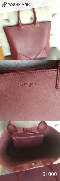 Givenchy Easy Tote Color is a beautiful maroon, practically brand new, dust bag is not included, 100% authentic Givenchy Bags