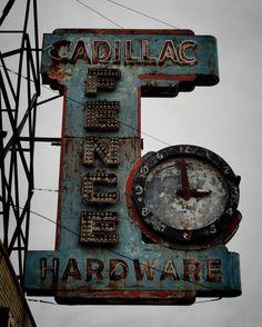 Cadillac Hardware vintage neon sign and clock Abandoned Buildings, Abandoned Detroit, Abandoned Places, Old Neon Signs, Vintage Neon Signs, Old Signs, Vintage Type, Vintage Cars, Station Essence