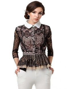 Charming Polo Collar Tight Waist Lace Black Blouse