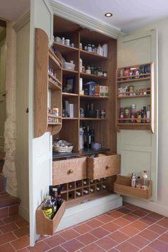 Bespoke kitchen larder cabinet by GRK. Kitchen Larder Cupboard, Kitchen Pantry Design, Home Decor Kitchen, Kitchen Organization, New Kitchen, Kitchen Storage, Home Kitchens, Storage Room, Kitchen Ideas
