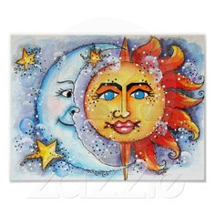 Celestial Sun and Moon Art Print and Poster from Zazzle.com