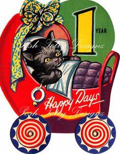 Etsy の Its A Cats Life 1930s Art Deco Vintage by poshtottydesignz